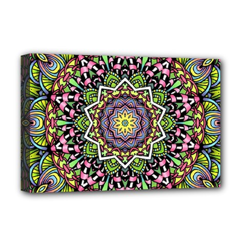 Psychedelic Leaves Mandala Deluxe Canvas 18  x 12  (Framed)