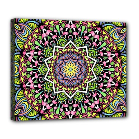 Psychedelic Leaves Mandala Deluxe Canvas 24  x 20  (Framed)