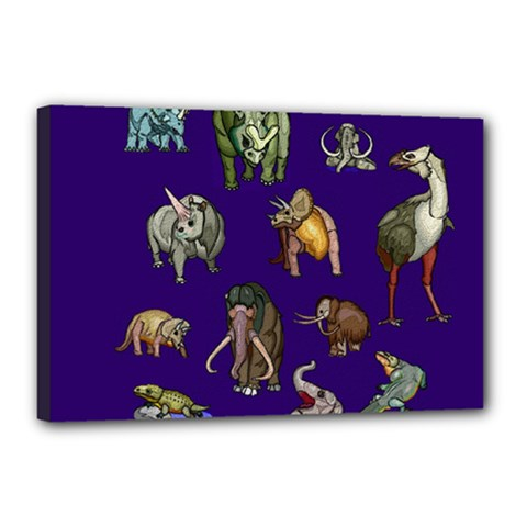 Dino Family 1 Canvas 18  x 12  (Framed)