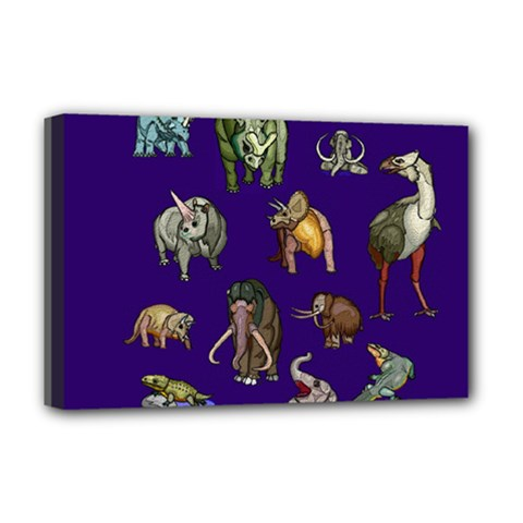 Dino Family 1 Deluxe Canvas 18  x 12  (Framed)