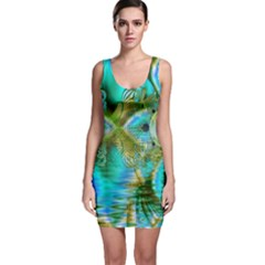 Crystal Gold Peacock, Abstract Mystical Lake Bodycon Dress