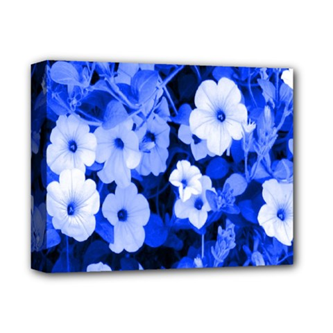 Blue Flowers Deluxe Canvas 14  x 11  (Framed)