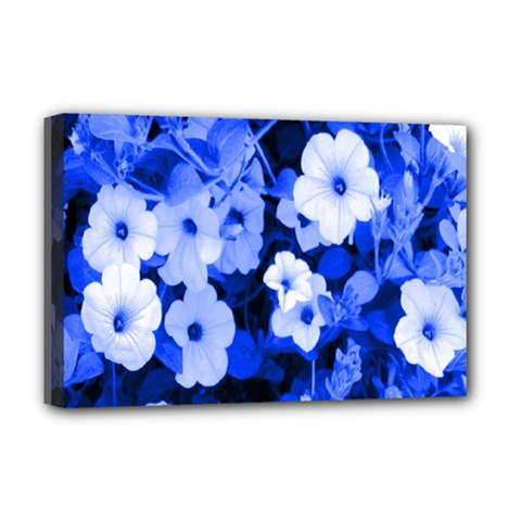 Blue Flowers Deluxe Canvas 18  x 12  (Framed)