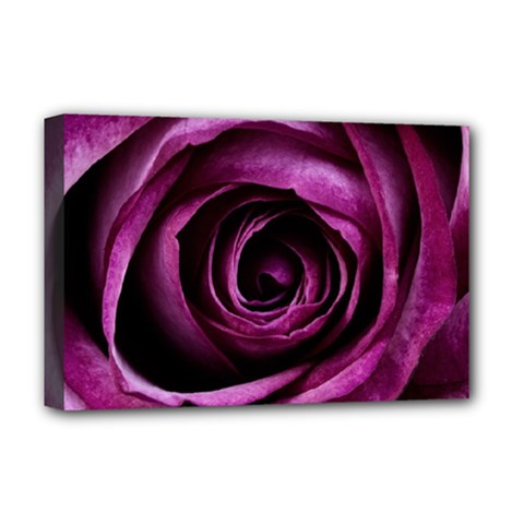 Deep Purple Rose Deluxe Canvas 18  x 12  (Framed)