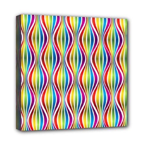 Rainbow Waves Mini Canvas 8  x 8  (Framed)