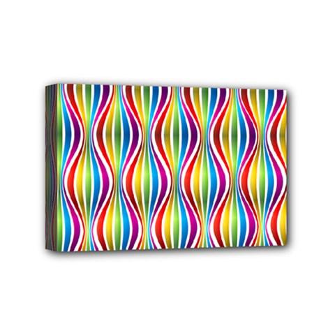 Rainbow Waves Mini Canvas 6  x 4  (Framed)