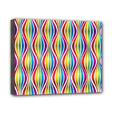 Rainbow Waves Canvas 10  x 8  (Framed)