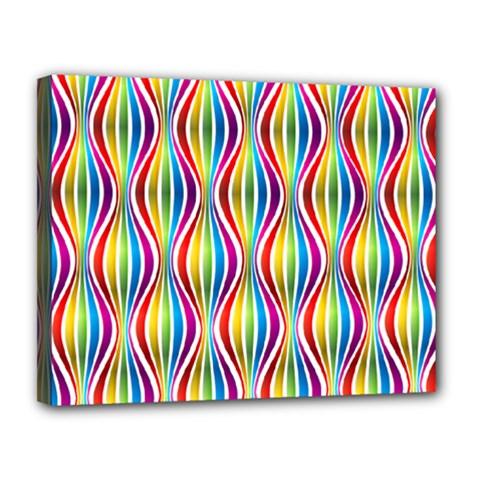 Rainbow Waves Canvas 14  x 11  (Framed)