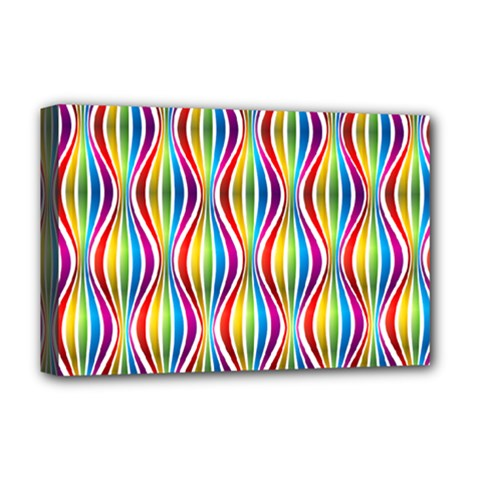 Rainbow Waves Deluxe Canvas 18  X 12  (framed)