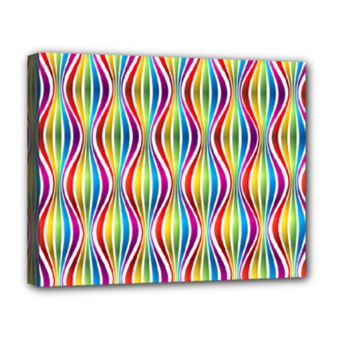 Rainbow Waves Deluxe Canvas 20  x 16  (Framed)