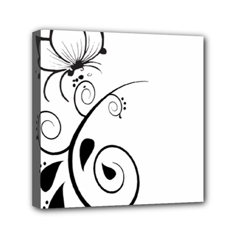 Floral Butterfly Design Mini Canvas 6  x 6  (Framed)