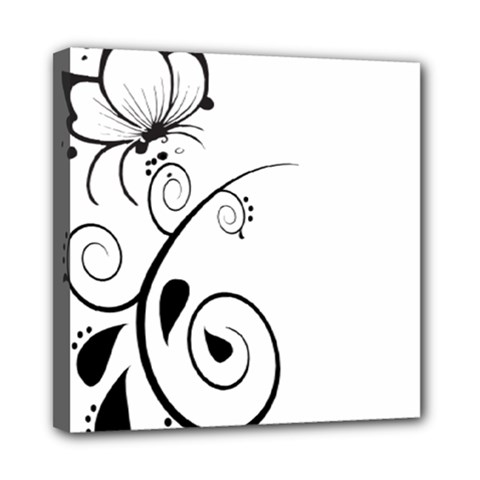 Floral Butterfly Design Mini Canvas 8  x 8  (Framed)