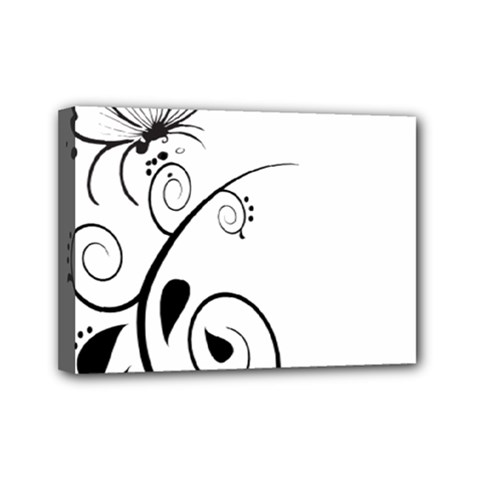 Floral Butterfly Design Mini Canvas 7  X 5  (framed)