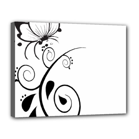 Floral Butterfly Design Canvas 14  x 11  (Framed)