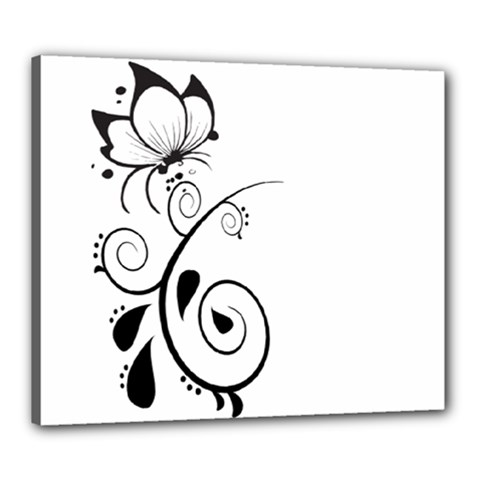 Floral Butterfly Design Canvas 24  x 20  (Framed)