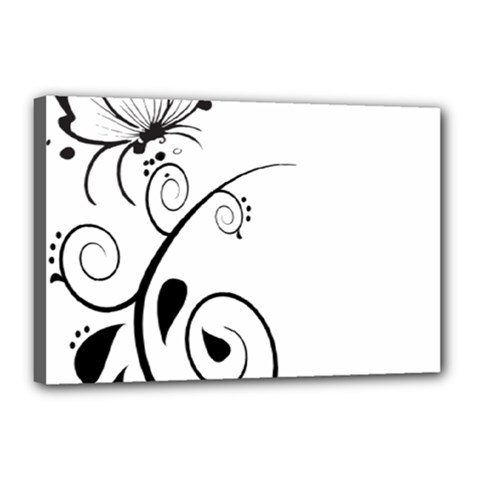 Floral Butterfly Design Canvas 18  x 12  (Framed)