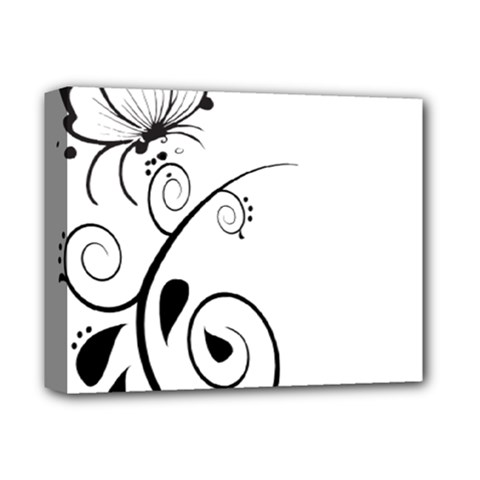 Floral Butterfly Design Deluxe Canvas 14  x 11  (Framed)