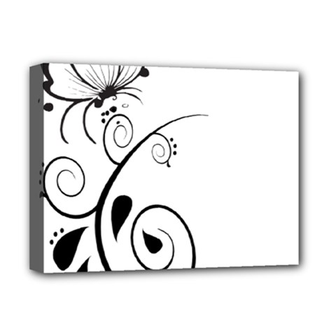 Floral Butterfly Design Deluxe Canvas 16  x 12  (Framed)