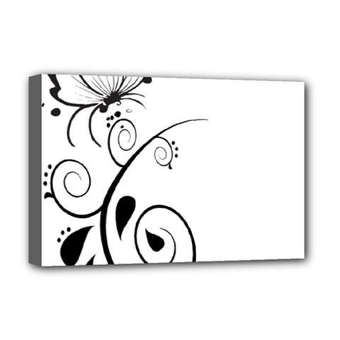 Floral Butterfly Design Deluxe Canvas 18  X 12  (framed)