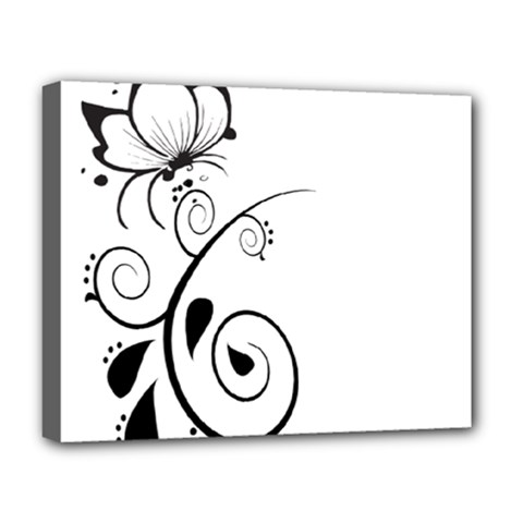 Floral Butterfly Design Deluxe Canvas 20  x 16  (Framed)