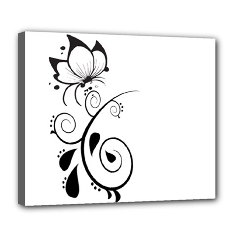 Floral Butterfly Design Deluxe Canvas 24  x 20  (Framed)