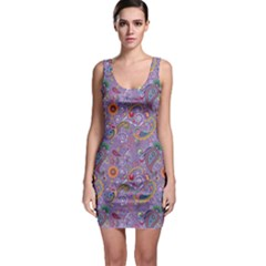 Purple Paisley Bodycon Dress