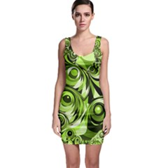 Groovy Green Swirls Bodycon Dress