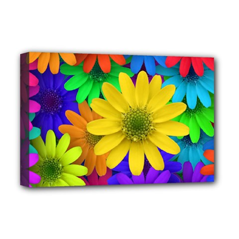 Gerbera Daisies Deluxe Canvas 18  x 12  (Framed)
