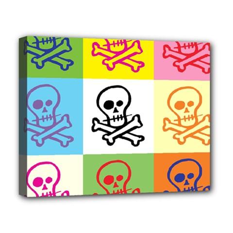 Skull Deluxe Canvas 20  X 16  (framed)