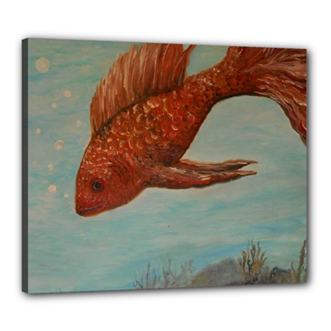 Gold Fish Canvas 24  X 20  (framed)