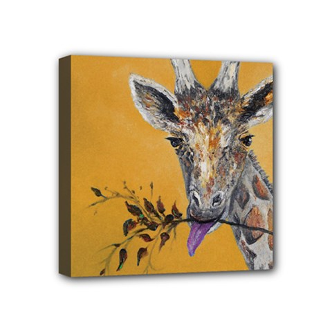 Giraffe Treat Mini Canvas 4  x 4  (Framed)