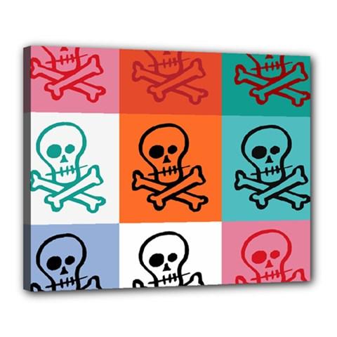 Skull Canvas 20  x 16  (Framed)