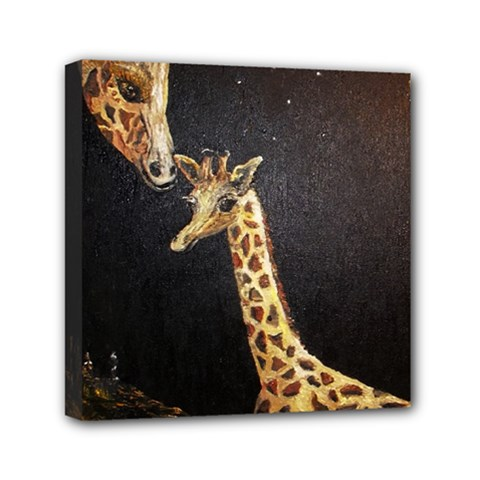 Baby Giraffe And Mom Under The Moon Mini Canvas 6  x 6  (Framed)