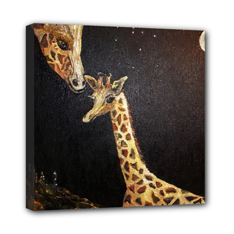 Baby Giraffe And Mom Under The Moon Mini Canvas 8  x 8  (Framed)