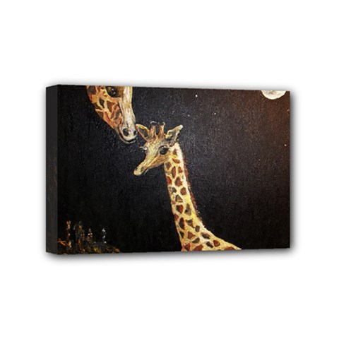 Baby Giraffe And Mom Under The Moon Mini Canvas 6  x 4  (Framed)