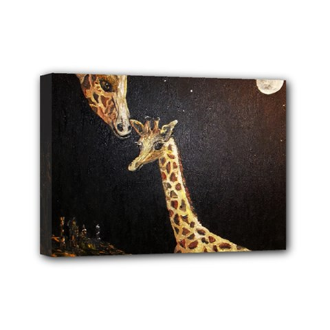 Baby Giraffe And Mom Under The Moon Mini Canvas 7  X 5  (framed)