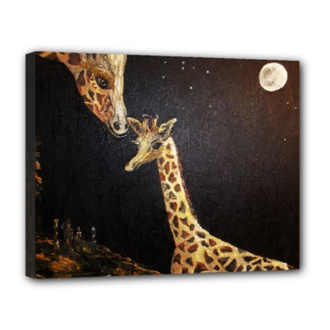 Baby Giraffe And Mom Under The Moon Canvas 14  X 11  (framed)