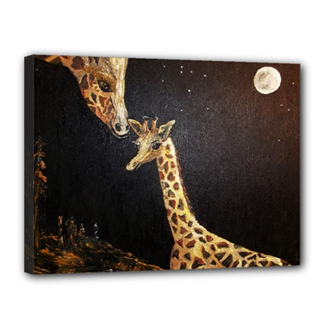 Baby Giraffe And Mom Under The Moon Canvas 16  x 12  (Framed)