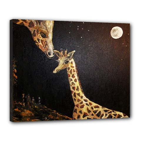 Baby Giraffe And Mom Under The Moon Canvas 20  x 16  (Framed)