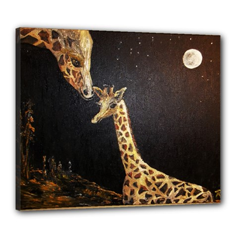 Baby Giraffe And Mom Under The Moon Canvas 24  x 20  (Framed)