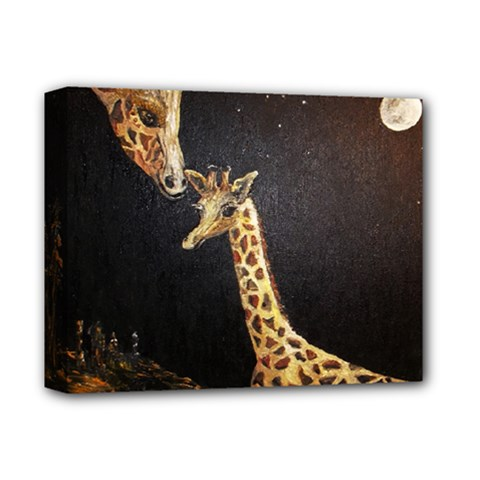 Baby Giraffe And Mom Under The Moon Deluxe Canvas 14  x 11  (Framed)