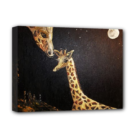 Baby Giraffe And Mom Under The Moon Deluxe Canvas 16  x 12  (Framed)
