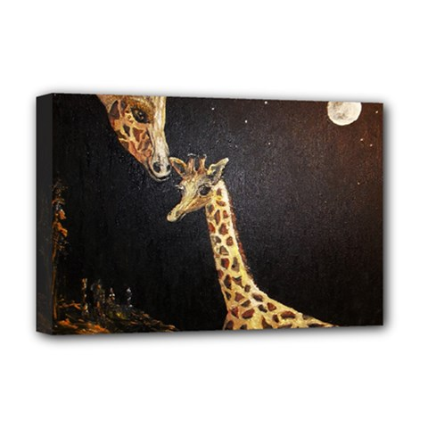 Baby Giraffe And Mom Under The Moon Deluxe Canvas 18  x 12  (Framed)