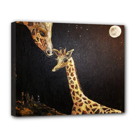 Baby Giraffe And Mom Under The Moon Deluxe Canvas 20  x 16  (Framed)