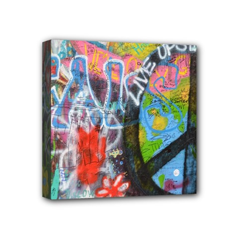 Prague Graffiti Mini Canvas 4  x 4  (Framed)