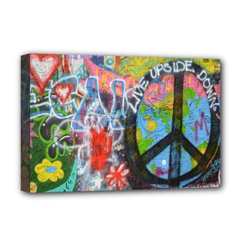 Prague Graffiti Deluxe Canvas 18  x 12  (Framed)