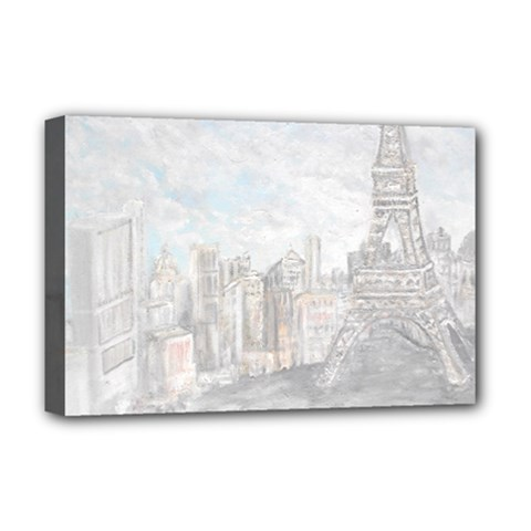 Eiffel Tower Paris Deluxe Canvas 18  x 12  (Framed)