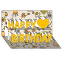 Yellow Whimsical Flowers Happy Birthday 3d Greeting Card (8x4)