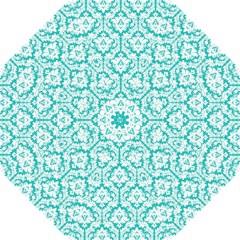 White And Turquoise Damask Pattern Hook Handle Umbrella (medium)