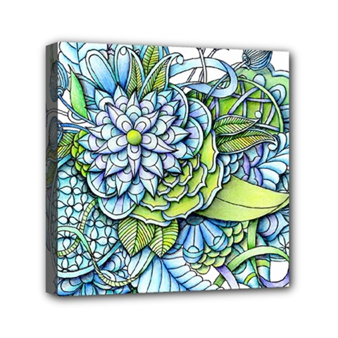 Peaceful Flower Garden Mini Canvas 6  X 6  (framed)